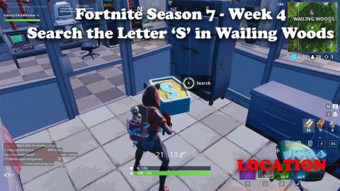 Fortnite Season 7 Week 4 - Search the Letter S in Wailing Woods