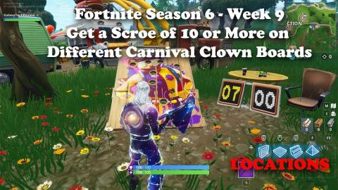 """""""Get a Score of 10 or More on Different Carnival Clown Boards"""" ALL LOCATIONS - Fortnite Challenge"""