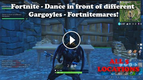 Fortnite - Dance In Front Of Different Gargoyles - All