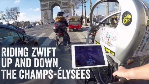 Riding Zwift Down The Champs-Élysées in Real Life