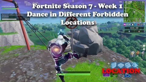 """Fortnite - Season 7 - Week 1 """"Dance in Different Forbidden Locations"""" All 7 Locations Guide"""