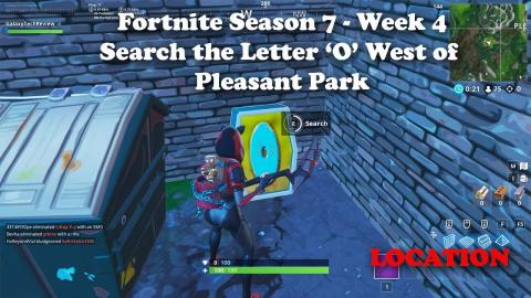 Fortnite Season 7 Week 4 - Search the Letter O West of Pleasant Park