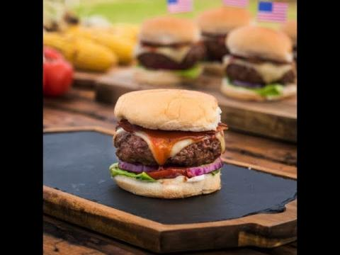 Pub-Style Cheeseburgers with Lager BBQ Sauce