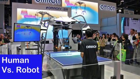 CES 2019   Human Vs. Robot at Ping Pong   Omron Robotics   SmartReview.com