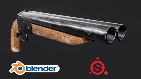 Speed Modelling a Double Barrelled Shotgun [Blender + Substance Painter]