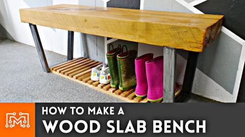 How to Make a Wood Slab Bench // Woodworking & Metalworking