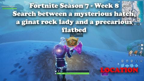 """""""Search between a mysterious hatch, a giant rock lady and a precarious flatbed"""" Fortnite Week 8!"""