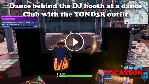 Dance behind the DJ booth at a night club with the YOND3R outfit LOCATION