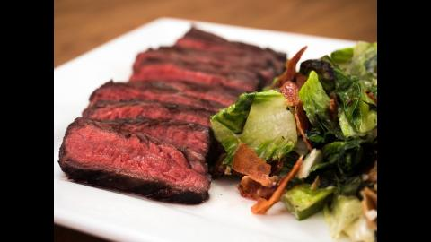 Red Wine-Marinated Steaks with Grilled Salad