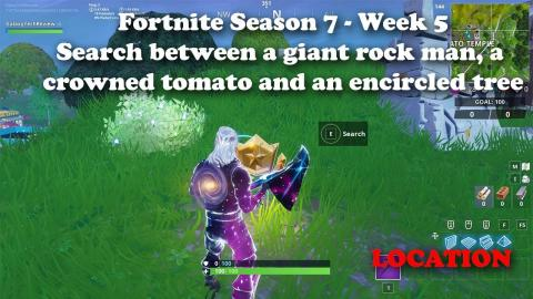 Fortnite - Season 7 - Search between a giant rock man , a crowned tomato and an encircled tree