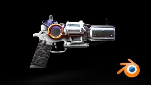 Sci-Fi Gun - Speed Model [Blender + Substance Painter]