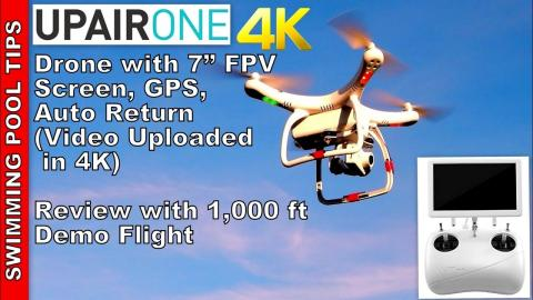 "UPair One Drone 4K Camera & 7"" FVP Screen, GPS, 1/2 Mile (1,000 m) Range only $350! - Review in 4K"