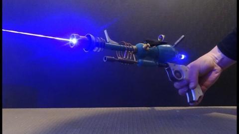Atompunk Laser Pistol Demonstration, high quality custom lasergun