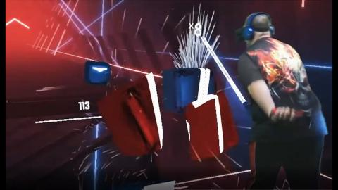 Oculus Quest Mixed Reality - Beat Saber- Uprising on Hard **Nearly Flawless**