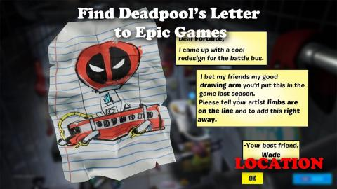 Find Deadpool's Letter to Epic Games - LOCATION
