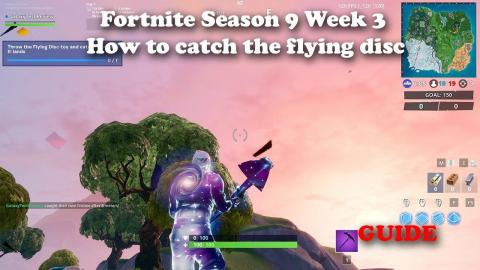 Fortnite - Season 9 Week 3 - Throw the Flying Disc Toy and Catch it before it lands - GUIDE