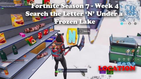 Fortnite Season 7 Week 4 - Search the Letter N Under a Frozen Lake